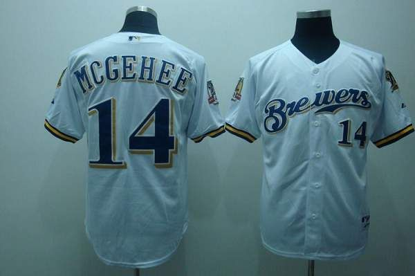 Brewers #14 Casey McGehee Embroidered White 40TH Patch MLB Jersey!$21.50USD