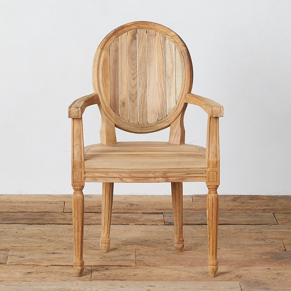 Palladio Oval Back Teak Armchair With Images Teak Armchair Outdoor Dining Chairs Dining Arm Chair
