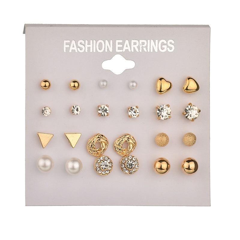 Fashion Tassel Crystal Pearl Earrings Set Women Ear Stud Dangle Jewelry 9 Pairs
