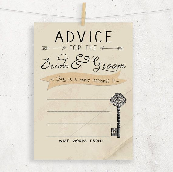 Advice For The Bride Groom Wedding Bridal Shower Cards