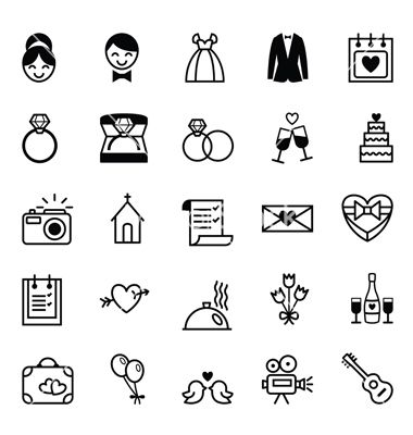 Icons preparation for the wedding vector on VectorStock