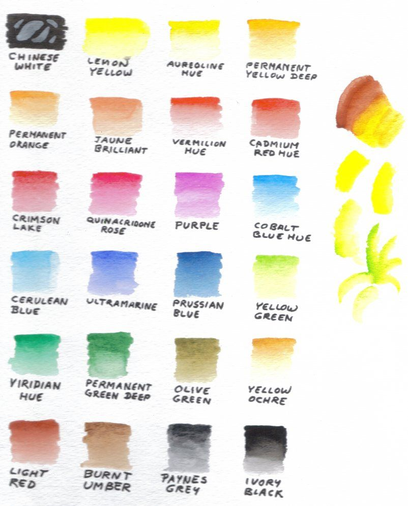 Watercolor artists names - 24 Color Sakura Koi Pocket Field Box Watercolor Set Color Chart Includes Shading How Fast Colors Drop Out On My Scanner Whether They Distort On My S