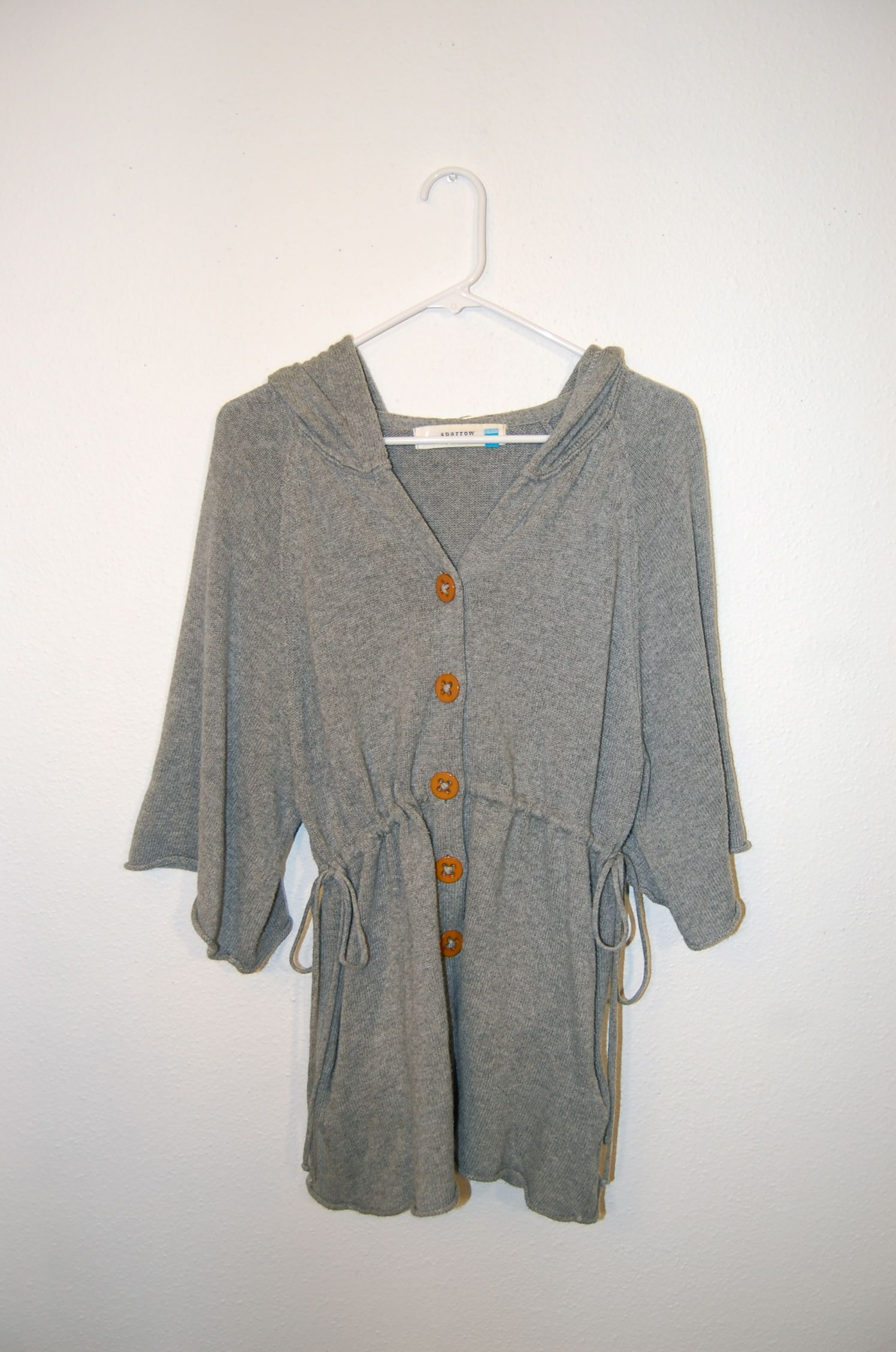SPARROW for Anthropologie - Grey Hooded sweater with zippered ...