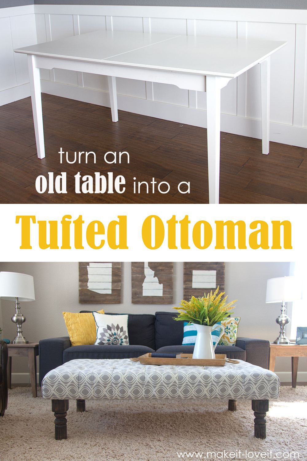 DIY Tufted Fabric Ottoman ((...from an old table | De cafe, Mesas de ...