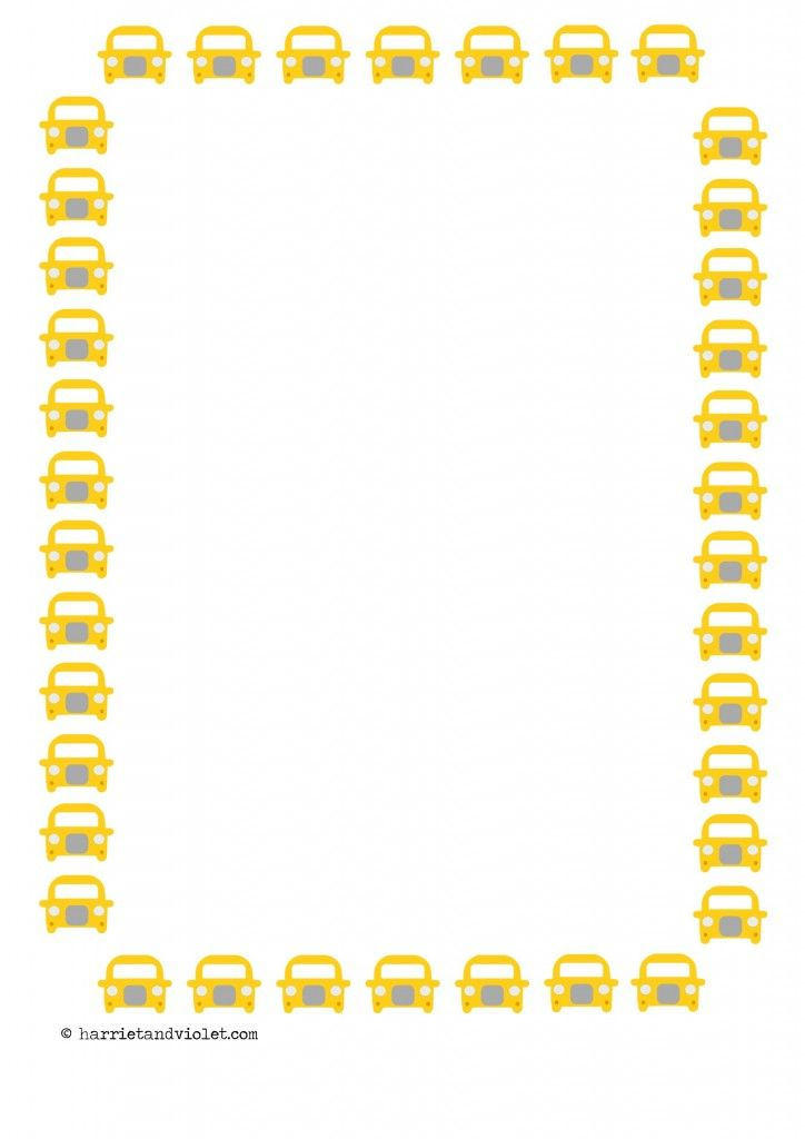 EYFS Yellow Cab Taxi Car Border Paper A4 Lined, plain and half - lined writing paper