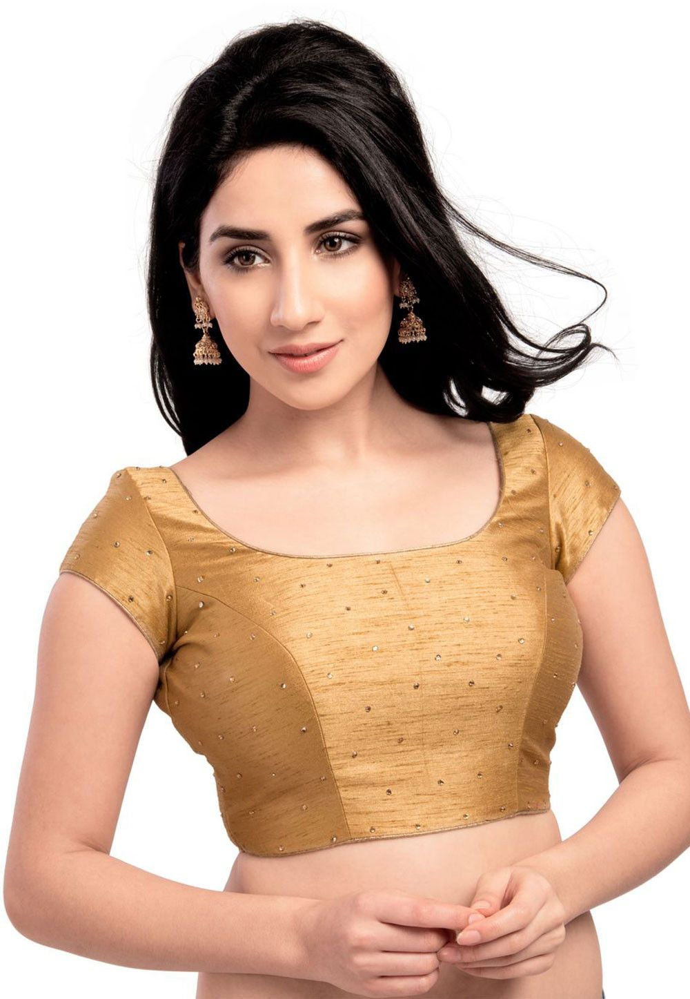 234660e9203d45 Art Silk Padded Blouse in Golden This Readymade Short Sleeve piece is  designed with Stone and Dangles It has a back hook closure Do note:  Accessories shown ...