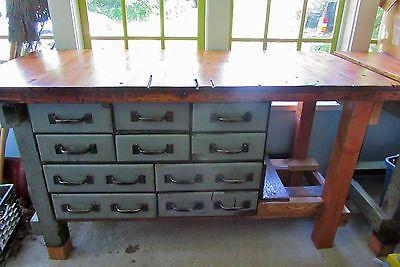 1900s Workbench - Industrial Work Bench - Work Table - Wood -  - Standing Desk -