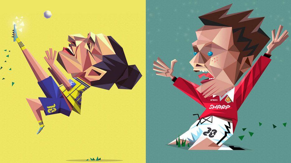 Desenhos de Ibrahimovic e Solskjaer