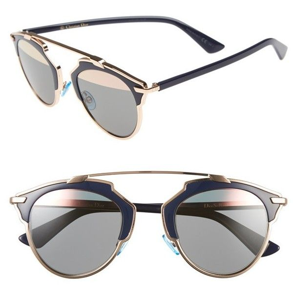 44abf36de781 Dior 'So Real' 48mm Sunglasses ($620) ❤ liked on Polyvore featuring  accessories, eyewear, sunglasses, glasses, óculos, lens glasses, uv  protection glasses ...