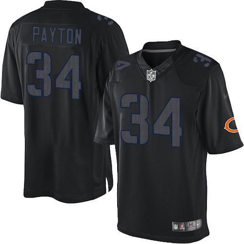 nfl mens elite nike chicago bears 34 walter payton impact black jersey 129.99