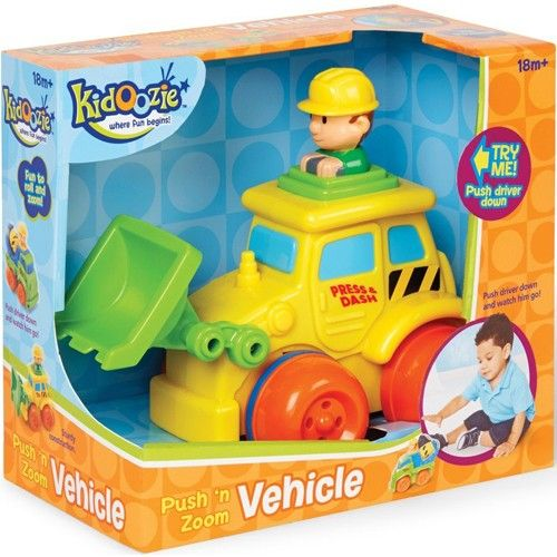 Kidoozie International Playthings Push 'n Zoom Vehicle - Front Loader Toddler Toys   ToyZoo.com