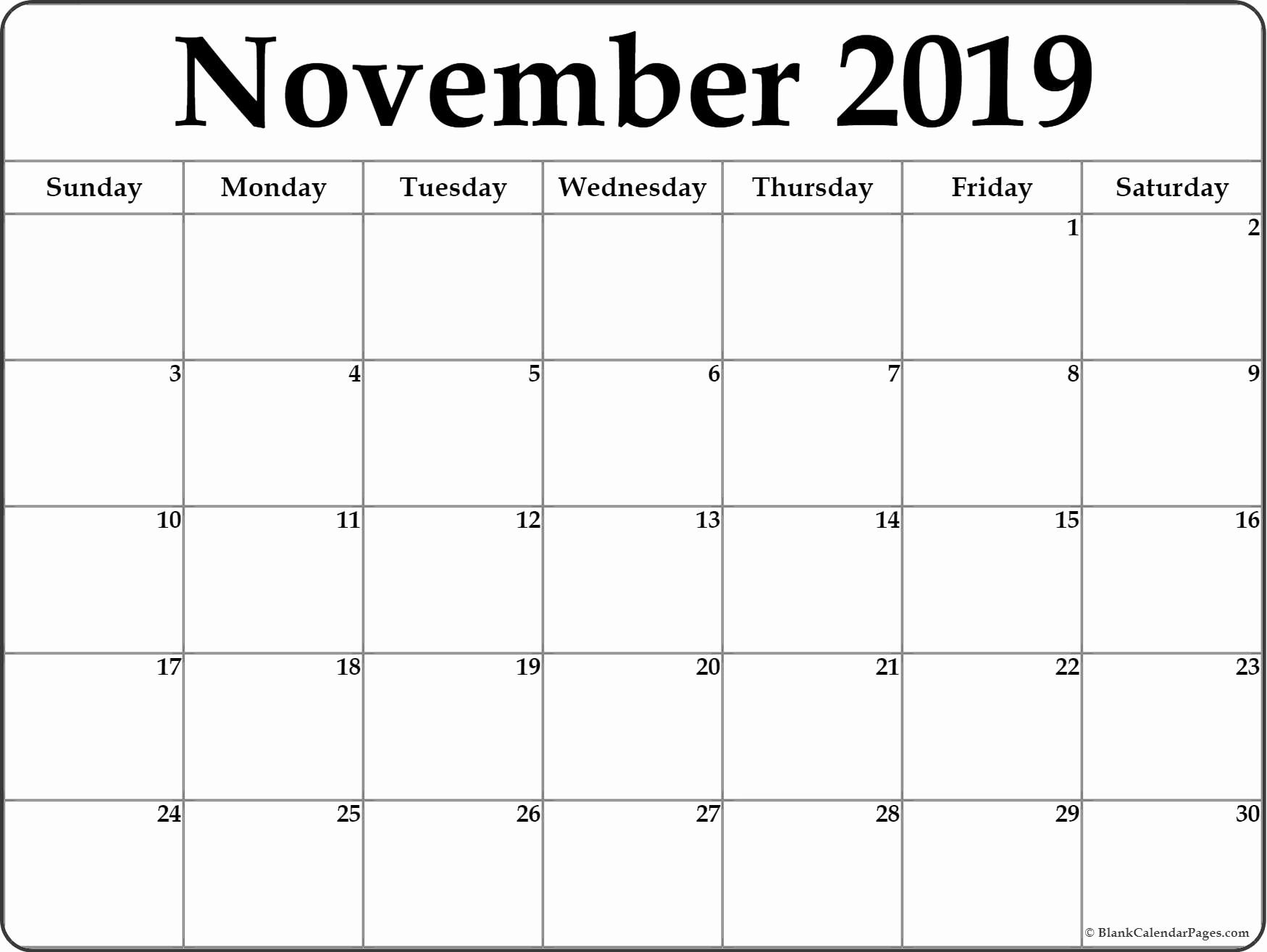 November 2019 Blank Calendar Printable Templates With Notes