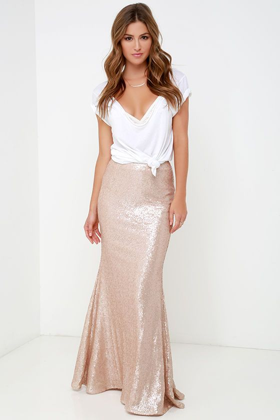 c8b095c7a Kickin' Up Stardust Blush Sequin Maxi Skirt | LIFESTYLE | Sequin ...