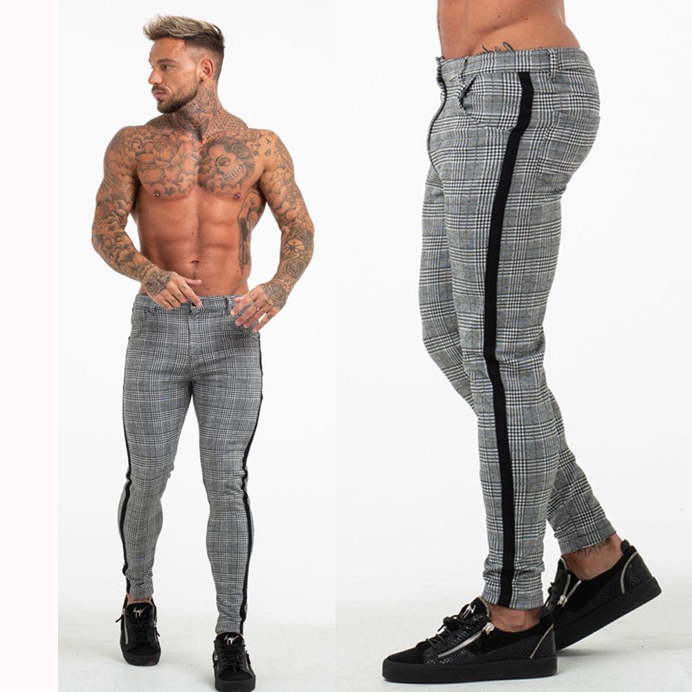 Gingtto mens skinny fit stretch gray plaid check chino