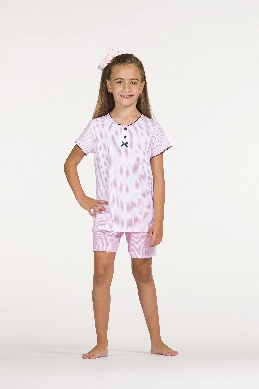 a10ec685a2 Ref. V5-91215 100% Algodón Pijama niña de manga corta y pantalón ...