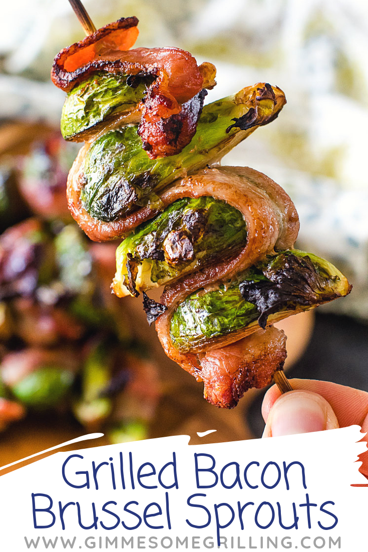 So much flavor in these delicious Grilled Bacon Brussel Sprouts! A quick and easy grilling recipe!