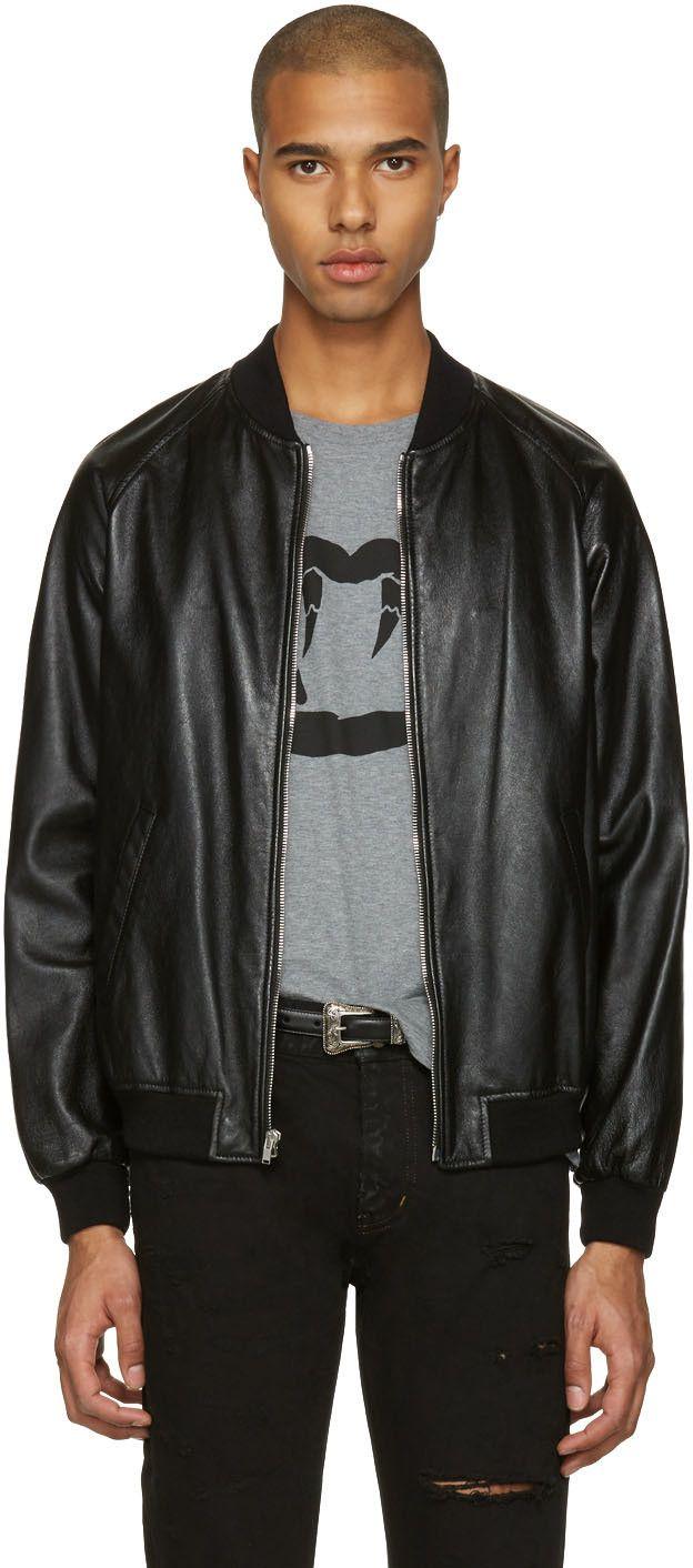 Saint Laurent Black Leather Oversized Teddy Bomber Jacket Saintlaurent Cloth Jacket Bomber Jacket Jackets Black Leather [ 1412 x 624 Pixel ]