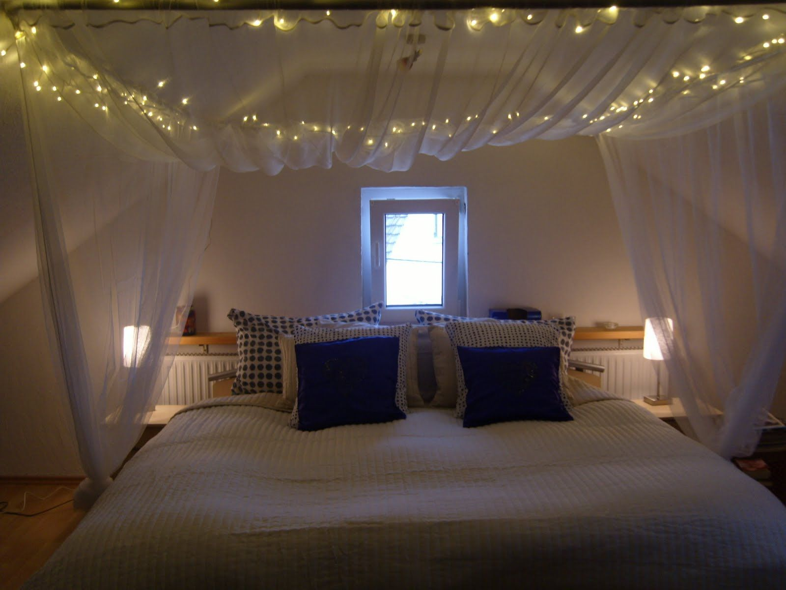 Canopy bed curtains with lights - Do It Yourself Headboards Ideas Have Always Wanted A Canopy Bed So This Weekend I