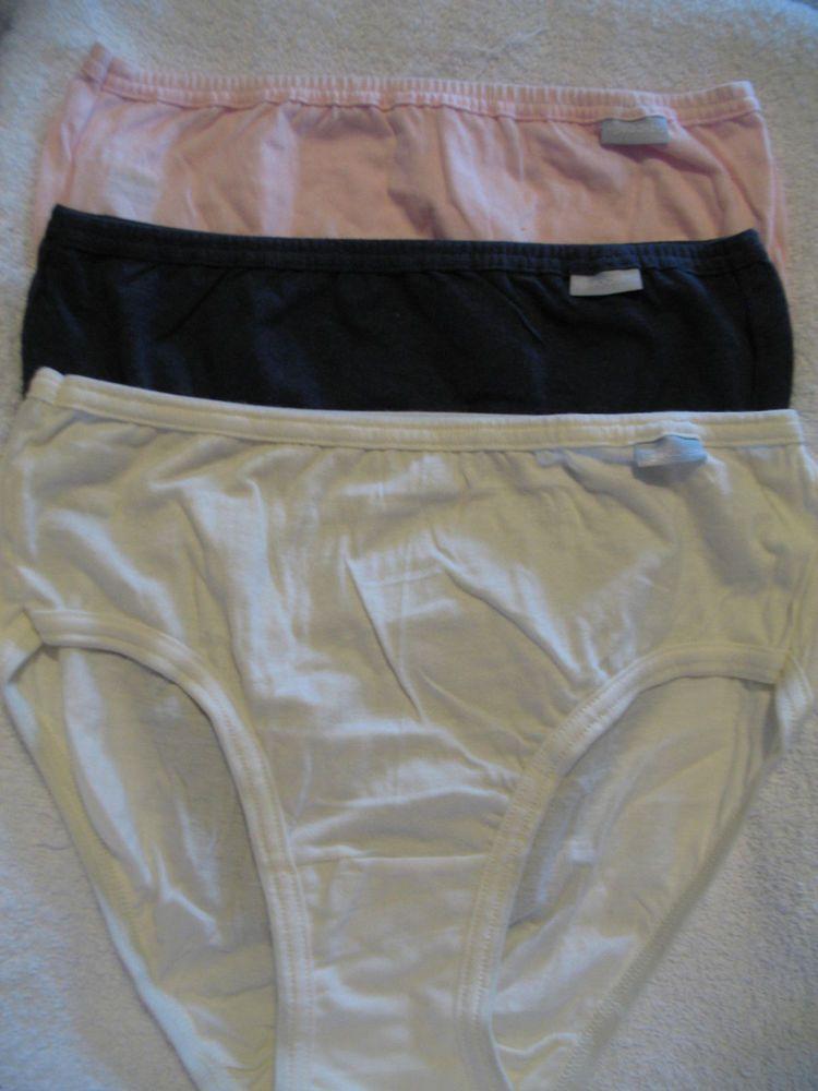 37e1f8a28f8 JOCKEY Womens 100% Cotton Panties Size 6 Bikini 3 Pack NWT Pink   Navy    Ivory  Jockey  Bikinis  Everyday