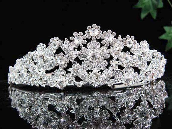 Alloy Floral Elegant Silver Crystal Bride by VictoriaBridalshop