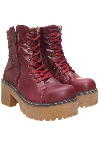 69ddb7ad Borcegos Mujeres Heyas Sulay Bordo Cuero Cuadrado Botas Cortas, Botines De  Caña Corta, Zapatos