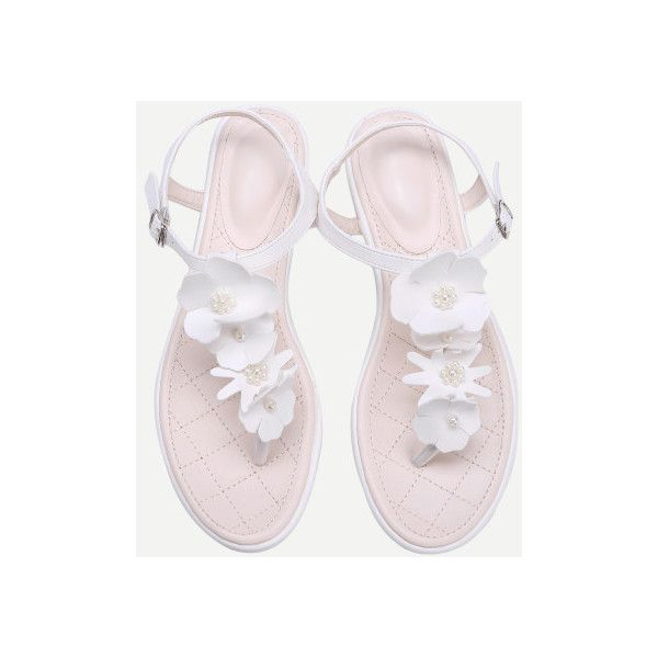 1bbe261e24880 SheIn(sheinside) Flower And Faux Pearl PU Toe Post Sandals featuring  polyvore