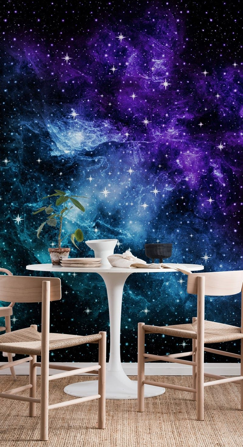 Purple Teal Galaxy Nebula 1 Wallpaper From Happywall Com Blue Galaxy Wallpaper Wallpaper Walls Decor Wallpaper Interior Design