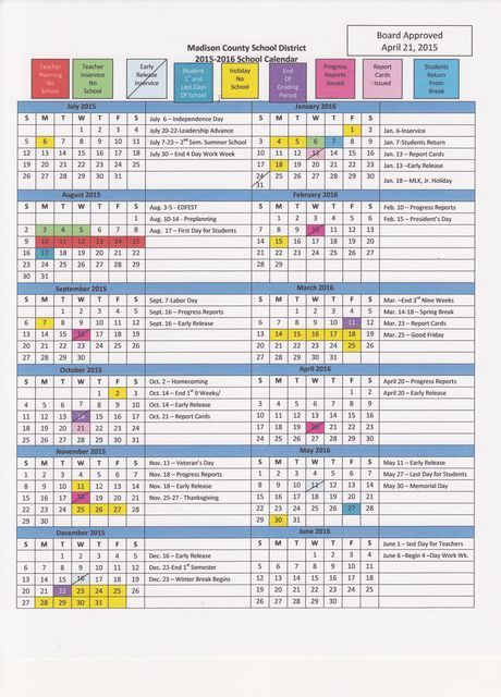 Madison County High School - Madison County District Calendar 2015-2016