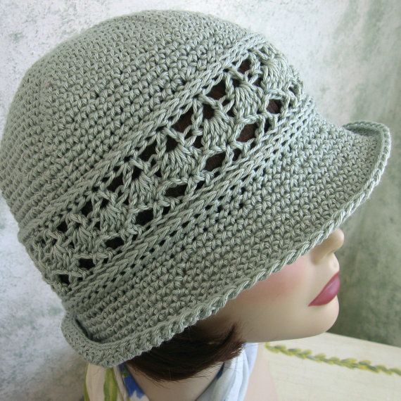 Crochet Hat Pattern Women's Summer Brimmed Hat With Mesh Band Instant Download