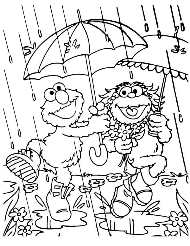 Elmo And Zoe Rain In 2020 Elmo Coloring Pages Puppy Coloring Pages Free Halloween Coloring Pages