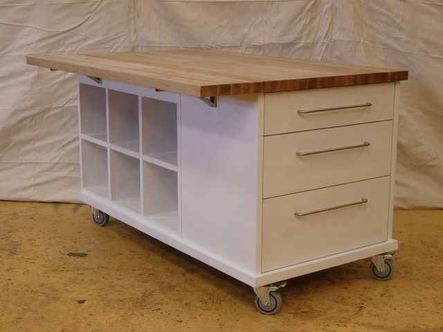 Kitchen island table on wheels with table on casters for Kitchen units on wheels