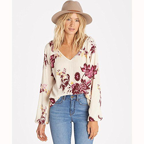 3209b9586e6c6 Billabong Womens Distant Roads Peasant Blouse White Cap M    Check out the  image by visiting the link.Note It is affiliate link to Amazon.