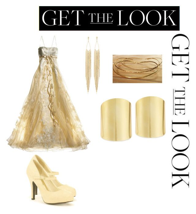 """Get the Look: Met Gala 2016 in Gold"" by tau-braxiatel ❤ liked on Polyvore featuring Red Circle, Lydell NYC, Panacea, GetTheLook and MetGala"