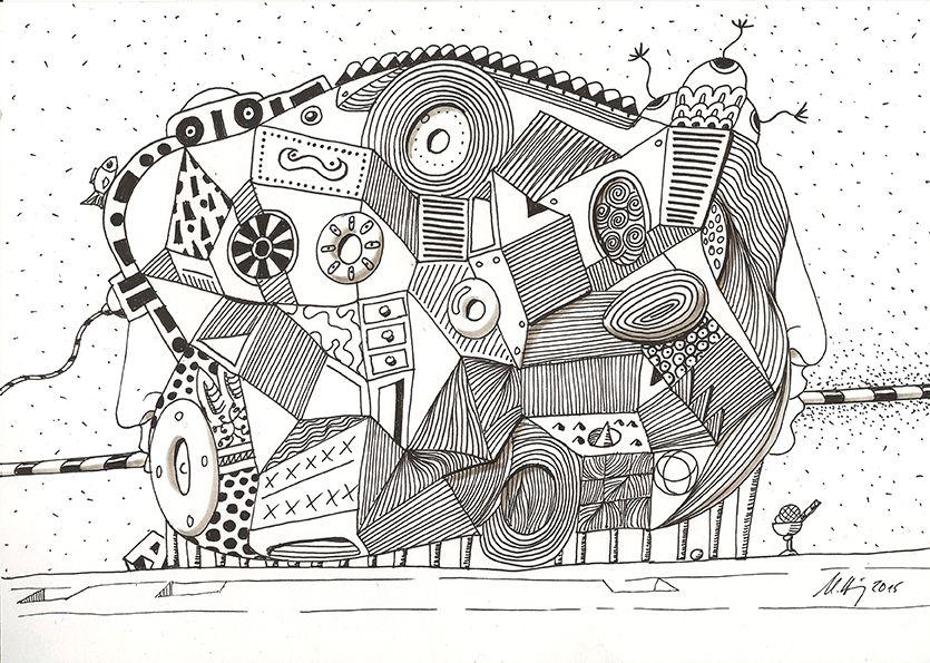 """""""living machine"""", #Zeichnung #Pigmenttusche Molotow™ schwarze Pigmenttusche - Fineliner)  auf #Hahnemühle #Papier """"Skizze 190"""", 190 g/m2 21 x 30 cm, © #matthias #hennig 2015     """"living machine"""", #india #ink #drawing (Molotow black pigment ink   fineliner) on  Hahnemühle  #paper """"Skizze 190"""",190 g/sqm 21 x 30 cm, © #matthias #hennig 2015"""