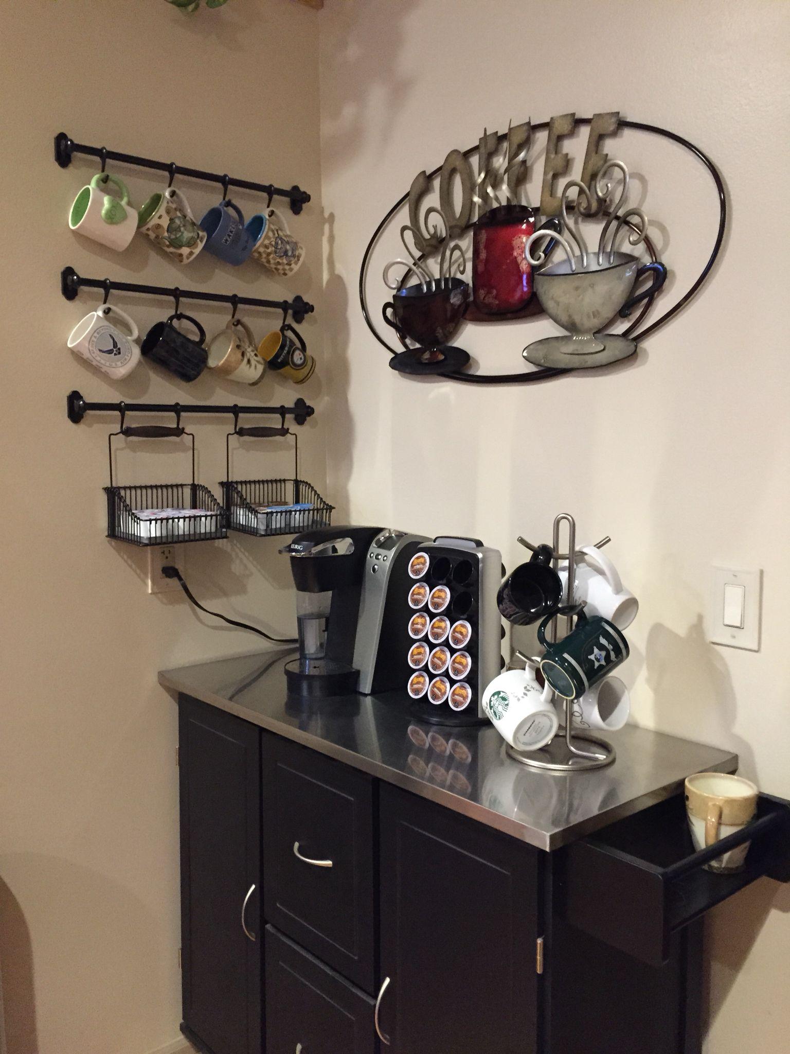Coffee Bar Art From Kirklands Mug Rack From Ikea Cart From Jc