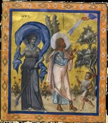 Nix (noche) representada en los Salmos de París (siglo X).