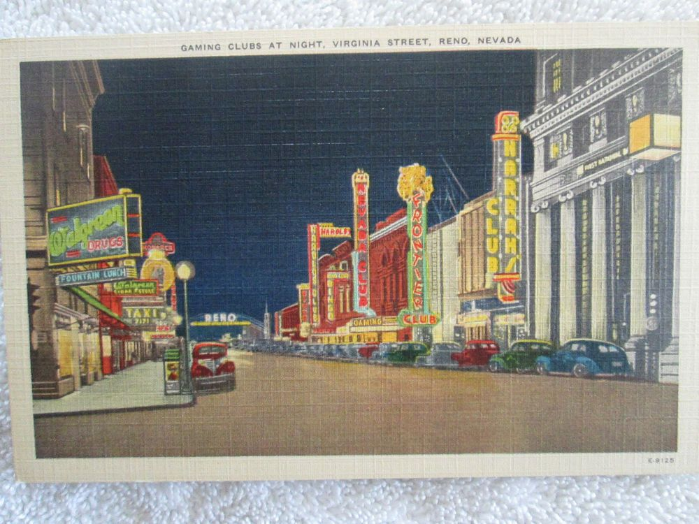 Gaming Clubs At Night, Virginia Street, Reno Nevada Vintage Linen Postcard