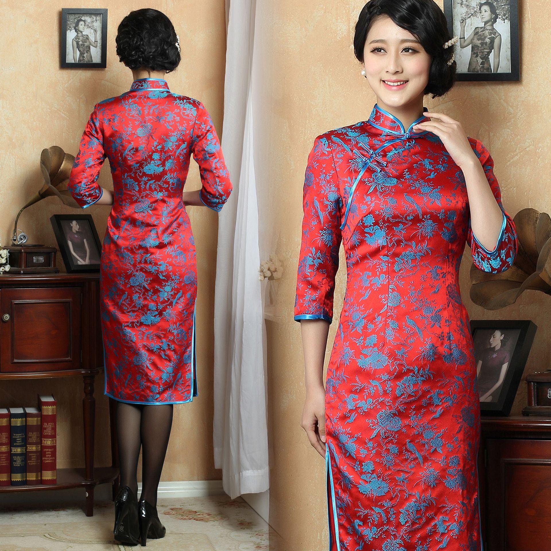 Long Sleeve Traditional Cheongsam Dress Chinese Dress Buy Chinese Bridal Dress Red Lace Wedding Dress Natural Linen Dress [ 1920 x 1920 Pixel ]