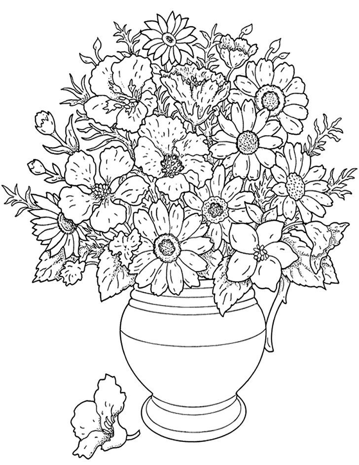 Flower Pot Flower Coloring Pages Printable Adult Coloring Pages