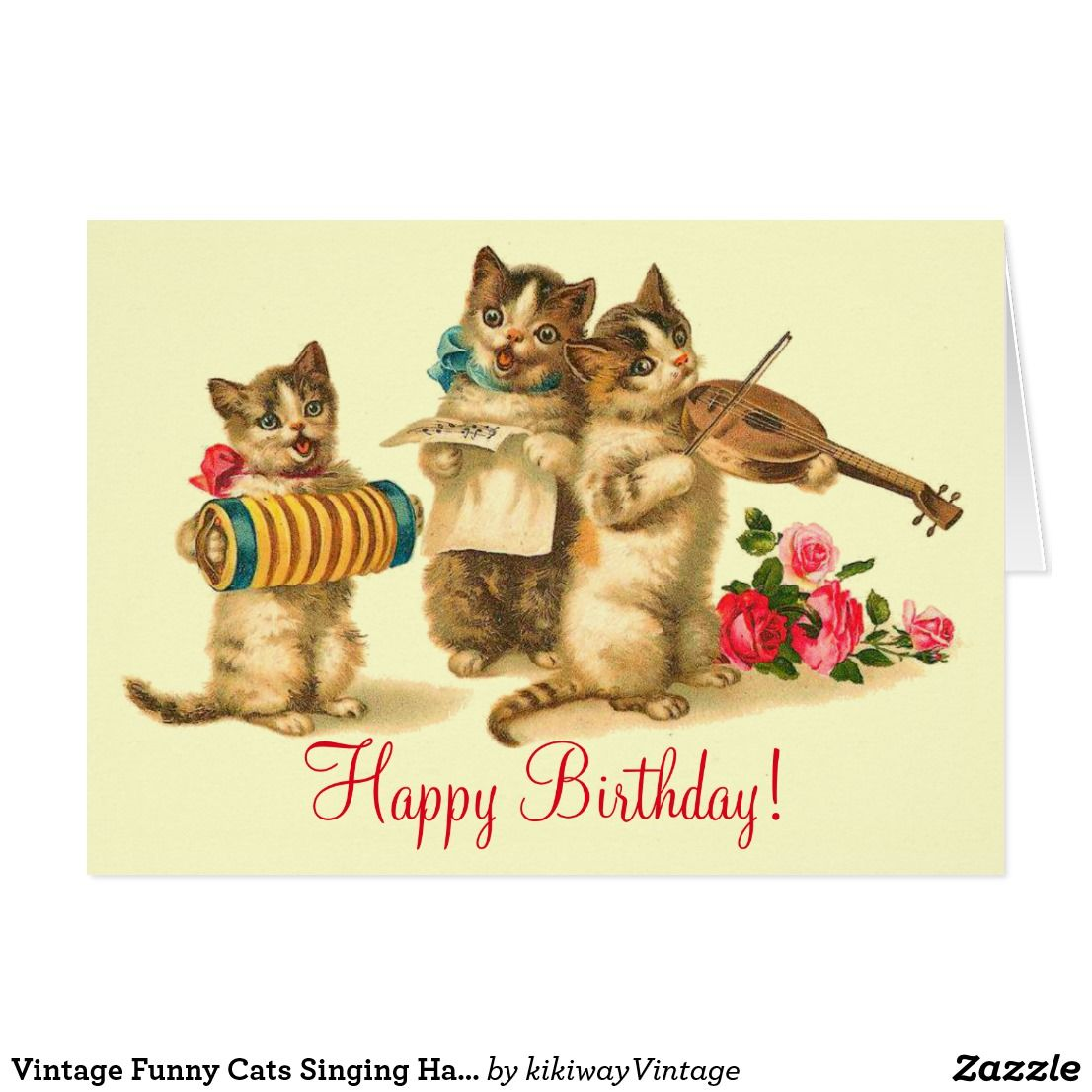 Vintage Funny Cats Singing Happy Birthday