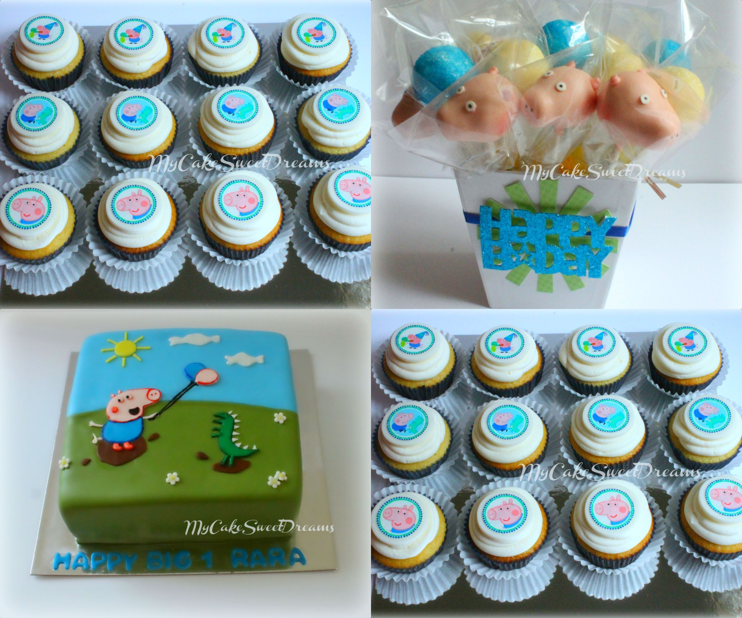 George Pig 1st Birthday Party.. ( Cake, Cupcakes & Cake Pops )