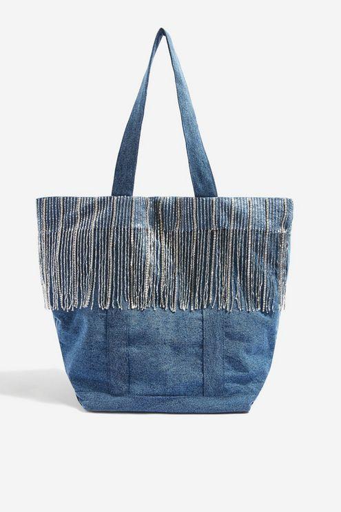 312e86b12cd Denim Fringe Shopper Bag | Denim | Shopper bag, Bags, Purses, bags