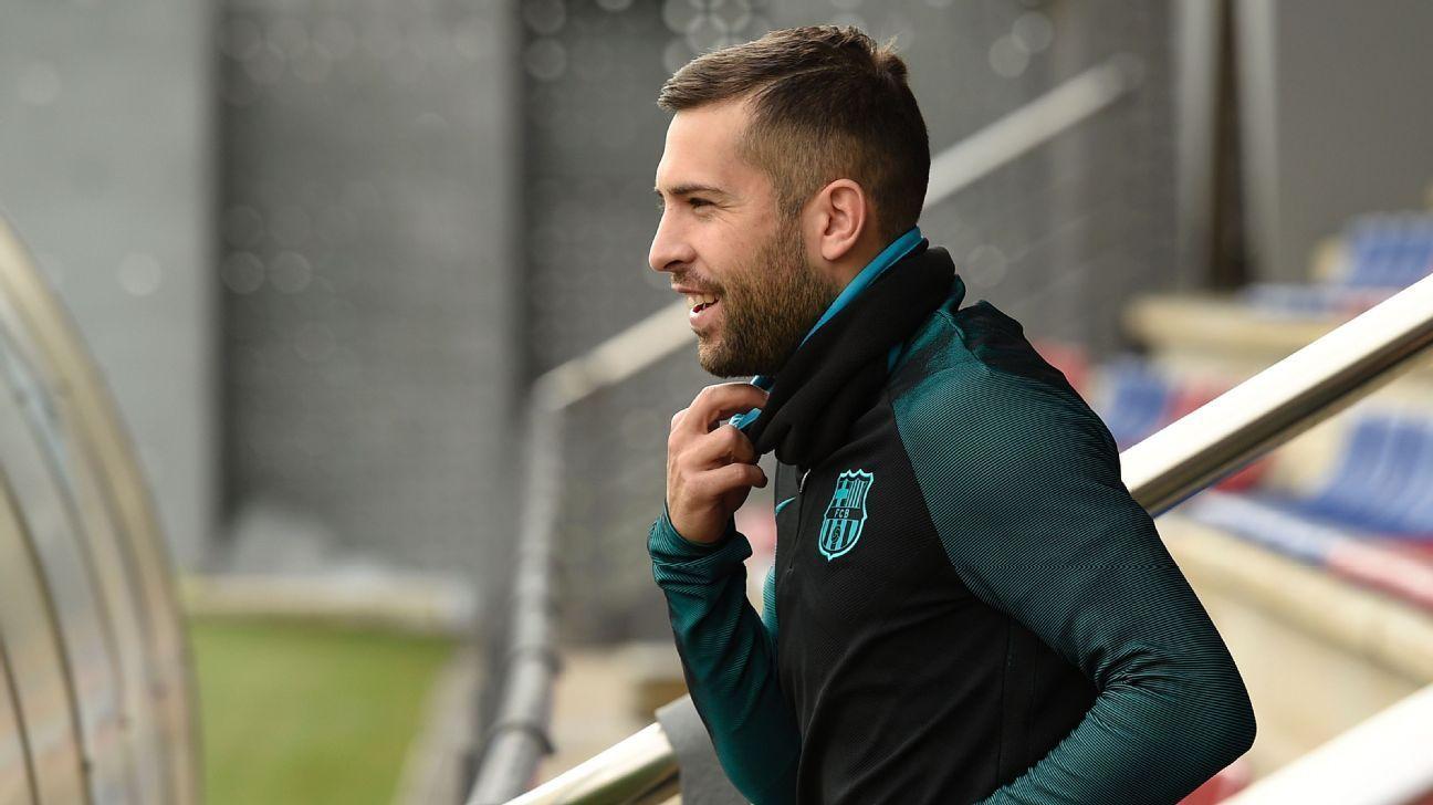 Barcelona defender Jordi Alba resumes training after