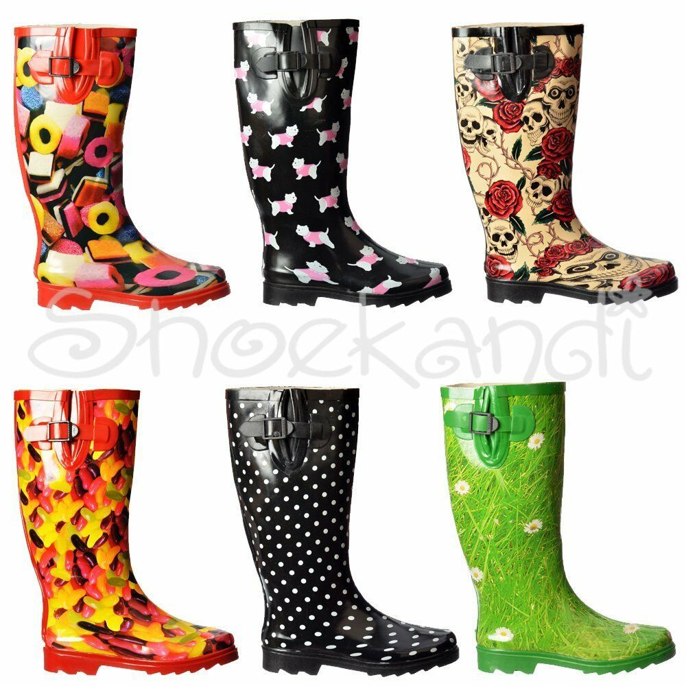 Nuevo Para Mujer Damas Ajustable Pantorrilla Botas Wellington Festival De Goma Botas de agua lluvia