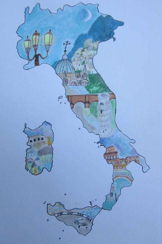 Map Of Italy Watercolour Illustration A5 Italian Landmarks