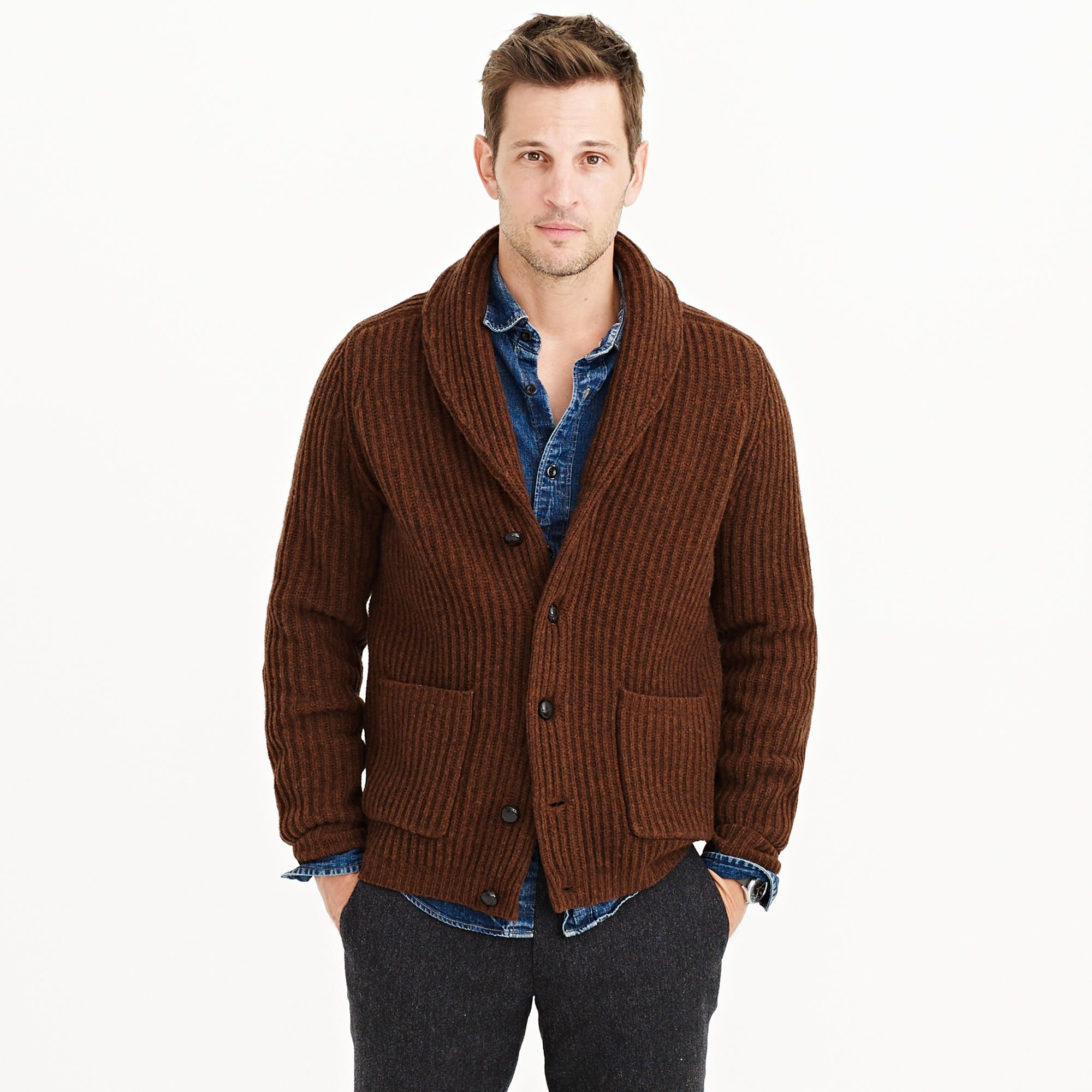 b686bd92803 Lambswool ribbed shawl collar cardigan - Heather Cognac - J. Crew ...