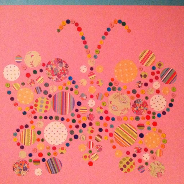 Pottery Barn Kids Knock Off: Butterfly Made With Buttons And Scrapbook Paper. Pottery