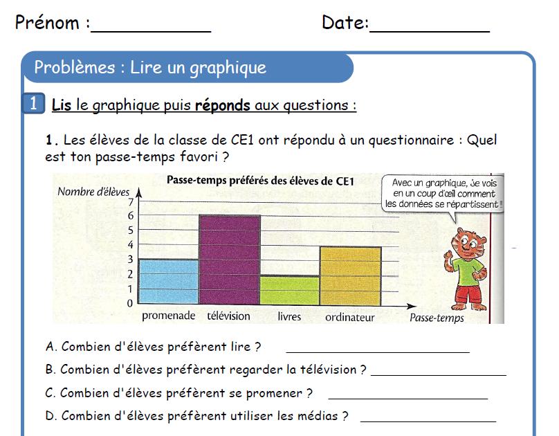 Lire un graphique 1 | Exercices mathématiques, Ce1, Problèmes ce1