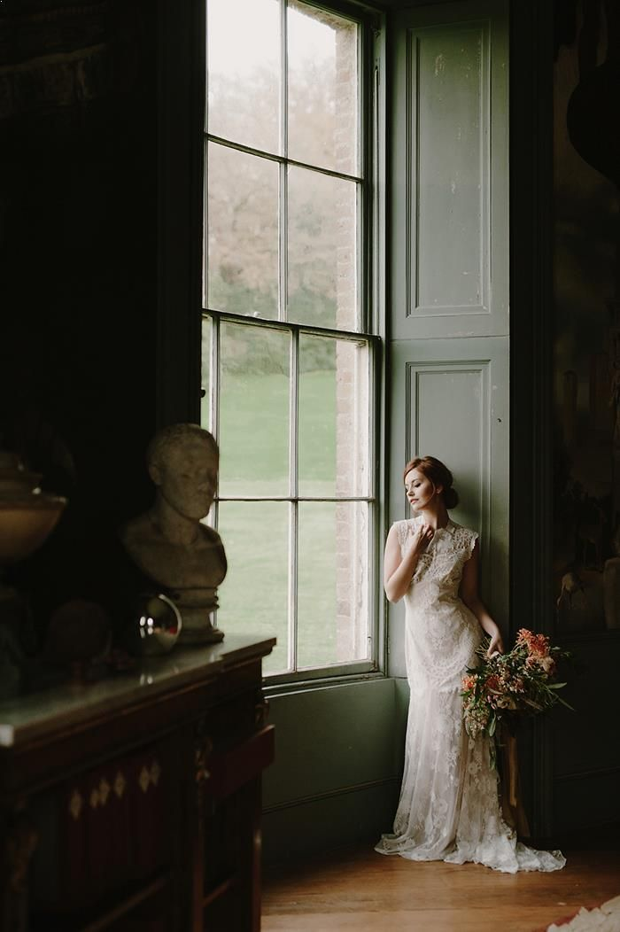 Moody Bridal Portrait Session in England  - Once Wed #bridalportraitposes