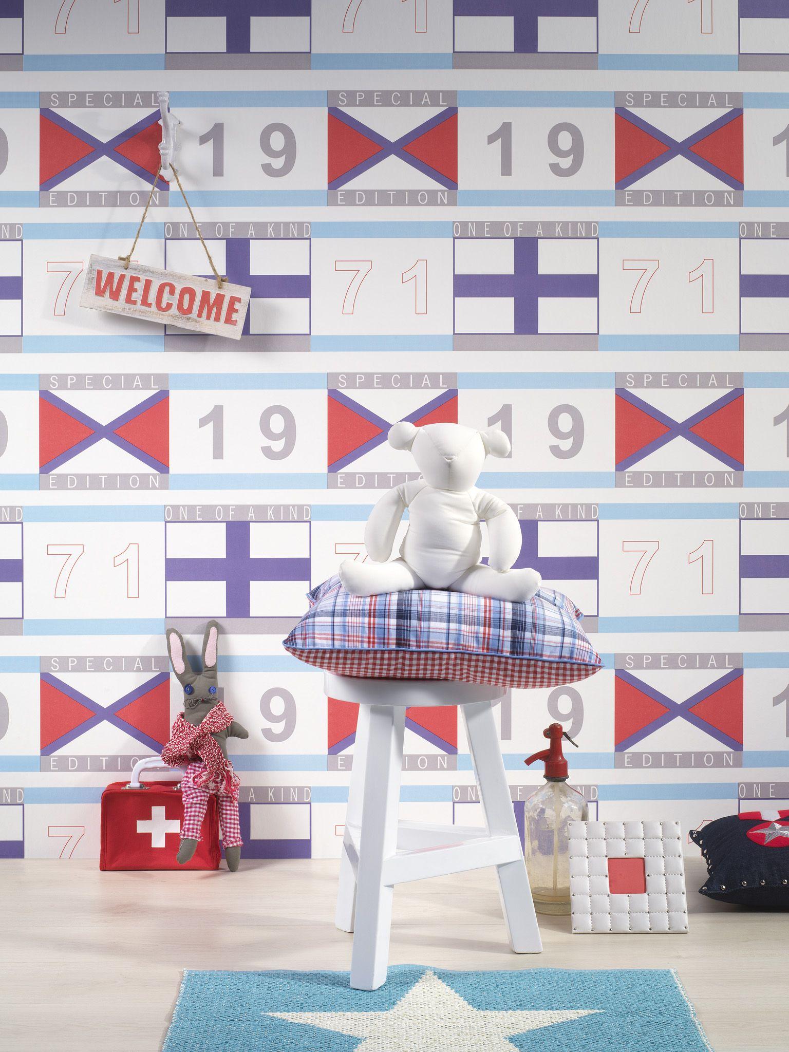 #Jongensbehang van dimago My First Room exclusief verkrijgbaar bij Verf en Wand. Ook met bijpassende stickers en #verf.